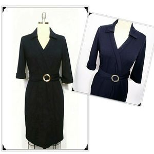 MAKE AN OFFER! Tahari Navy Blue Belted Dress